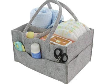 Diaper bag, nappy bag, changing bag hand-stiched with felt,  2 colors: light and dark grey