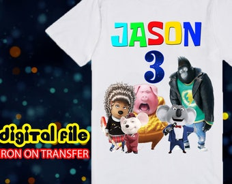 Iron On Transfer Sing Movie Birthday Shirt, Sing Movie Iron On Transfer, Sing Movie Birthday Boy Iron On Transfer, Personalize