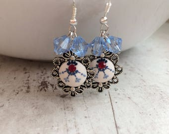 Polymer clay earings, blue