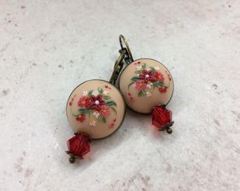 Floral earings, polymer clay dangle earings