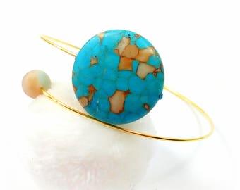 Bracelet has memory gold, turquoise and amazonite