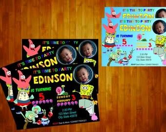 sponsbob invitations, birthday invitation