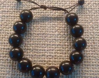 Black horn beaded bracelet