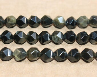 Natural Gold Black Obsidian faceted stars cut nugget beads 6mm 8mm ,loose beads,semi-precious stone,15 Inches Full strand