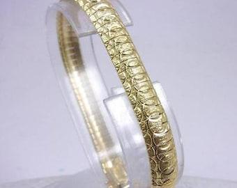 "Solid 14K Yellow Gold Fancy Omega Link Bracelet 7"", 17.5 grams, 8mm Italy Heavy"