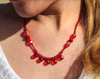 Red beaded necklace