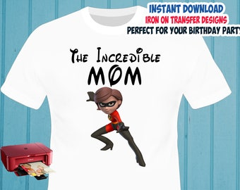 The Incredibles , MOM , Iron On Transfer , The Incredibles MOM Birthday Shirt Design , DIY Shirt Transfer , Digital Files , Instant Download