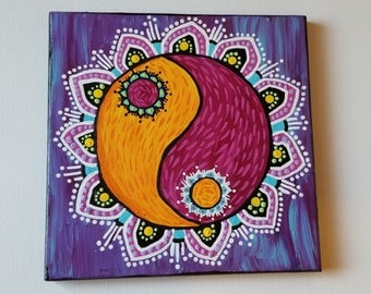 Colorful Yin Yang Mandala Painting