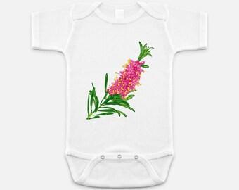 Australian Native Floral Print - Baby Onesie - 3-6 months - 6-12 months - 12-18 months - Bottlebrush Flower