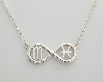 Scorpio & Pisces Infinity Zodiac Necklace, 925 sterling silver.