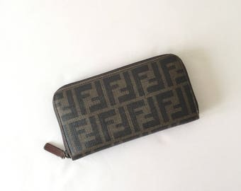 Fendi Zucca zip around wallet