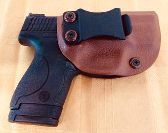 Kydex IWB Holster S&W shield 9mm and .40 brown leather look -  free ship!