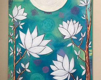 Dancing tree, original acrylic painting , Flowers , tree, moon, Intuitive painting , whimsical art.