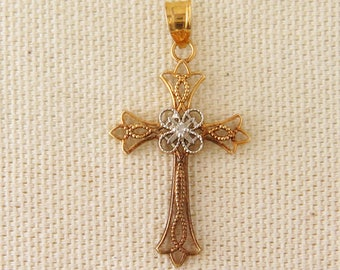 Vintage 14K Yellow and White Gold Cross with Diamond