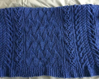 Knitted Blue Cabled Baby Blanket