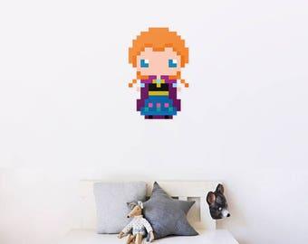 Snow queen Anna wall decal pixel art