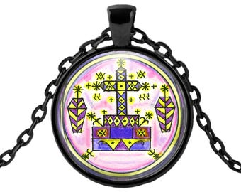 "Baron Samedi Veve Miracle Work Healing & Resurrection Voodoo Magic Glass Talisman Necklace Pendant in 1"" Round  2"" Huge Oval"
