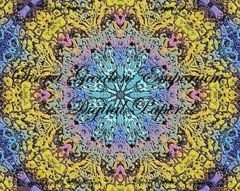 Digital Paper #21 - Original Scrapbook, Decorative Paper, with a Psychedelic Kaleidoscope  Pattern