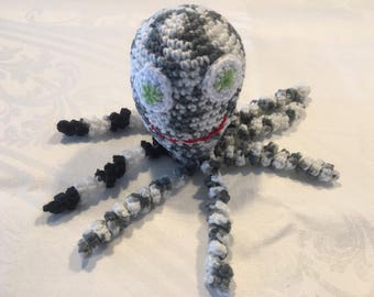 Crocheted Octopus Toy - Black and White