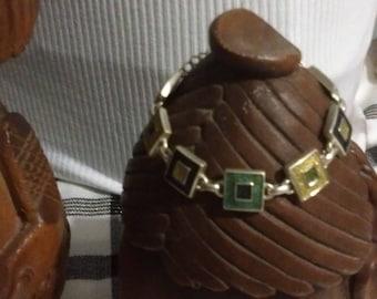 Enamelled and silver tile bracelet