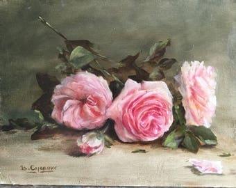 Three pink roses, dimention:, 35cmx27cm