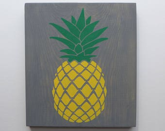 Square Pineapple Wood Sign