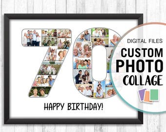 70th Birthday Photo Collage, 70th Anniversary Gift, 70th Birthday Personalized Gifts, Pictures Collage, Personalized Collage, Collage Number