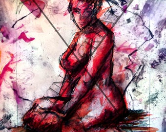 "seated nude woman painting drawing ""Fierce"""