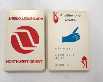 Northwest Orient Playing Cards That Talk Vintage Airline 1970s Chinese Japanese Korean