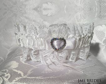 White Garter Wedding Bride