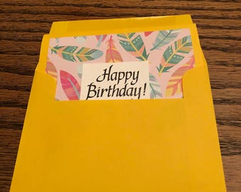 Yellow Birthday Card with Feathers