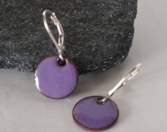 purple enamel earrings