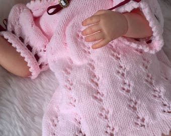 Knitted Baby Dress, Hand Knitted Dress, Knitted Baby Clothes, Baby Girl Dress, Hand Knitted Pink Baby Dress, Baby Shower Gift