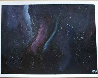 Painting on paper A4 Galaxy blue