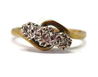 3 Stone Illusion Set Diamond Crossover Ring, 9k Gold Trilogy Engagement Ring Size 7.25