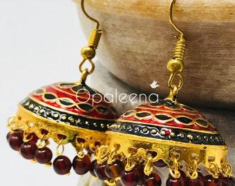 Gold Earrings, Earrings for women, Indian Jewellery, Dangle earrings, Indian jewelry, Asian jewelry, Floral jewelry, dangle earrings, dainty