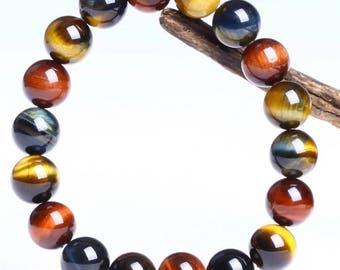 14MM Colorful tiger-eye/hawk-eye stones bracelet