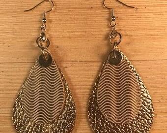 Leather earrings, Double teardrop, Gold earrings, Bold earrings,