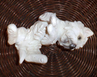 Vintage statuette. White terrier. Ceramic figurine. Large statuette. Vintage style 80 х. Collectible figurine.