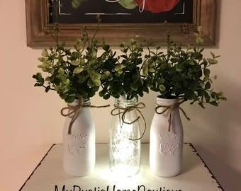 Painted Milk Jar/Painted Milk Jars/Rustic Decor/Rustic Home Decor/Farmhouse Decor/Milk Jar Decor/Painted Jar Decor/Home Decor/Eucalyptus