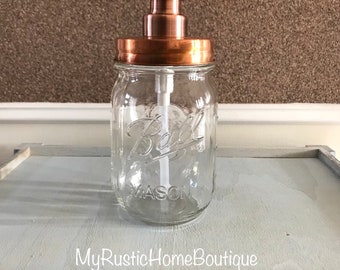Copper Mason Jar Soap Dispenser/Copper Soap Dispenser/Soap Dispenser/Mason Jar Soap Dispenser/Mason Jar Decor/Rustic Decor/Farmhouse Decor