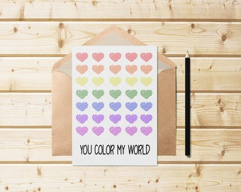 You Color My World Valentines Day Card, Valentines Day Card, Love, Valentines Day, Lovers Day, Printable Cards, Vintage