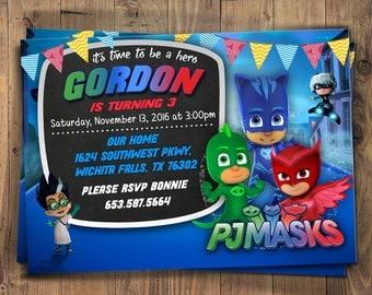 Pj Masks invite, Pj Masks Boy Invitations, PJ Masks Birthday Invitation, PJ Masks Invitation, PJ Masks Party