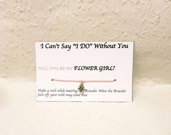 Flower Girl proposal gift, Flower girl wish Bracelet, I can't say I do without you gift, Wish Bracelet, Flower girl Gift, Bridesmaid Gift