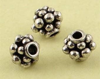 Vintage Style Thai Sterling Silver Spacer Beads, 6mm (CY213)