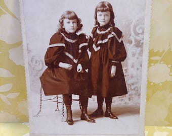 Antique Photo of Young Girls/antique photograph/photography/ephemera/1800's/antique dresses/scrapbooking/art projects/collectibles/victorian