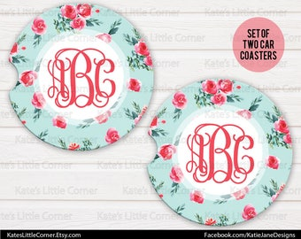Initial Car Coasters, Car Accessories for her, Personalized Car Coaster, Monogramed Car Coaster, Cup Holder Coaster, Set of 2 Car Coaster