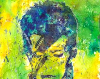 David Bowie Watercolour A3 Print - Fan Art, Music, Bowie, Wall Art, Painting, Home Decor, Gift