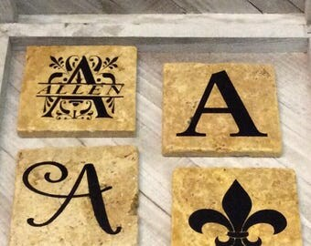 Personalized Travertine  Coasters- set of 4