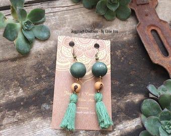 Green wood bead Tassels